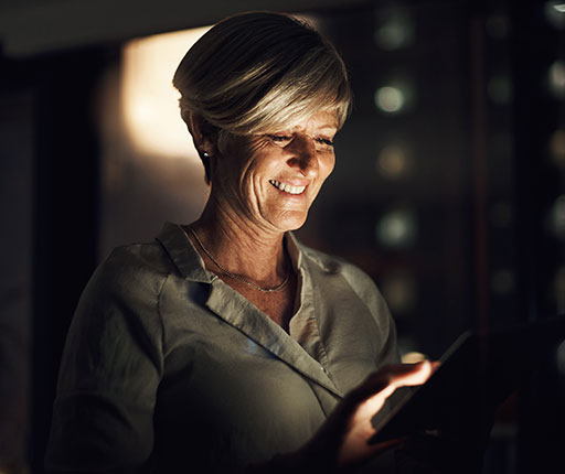 Businesswoman using Business Mobile app