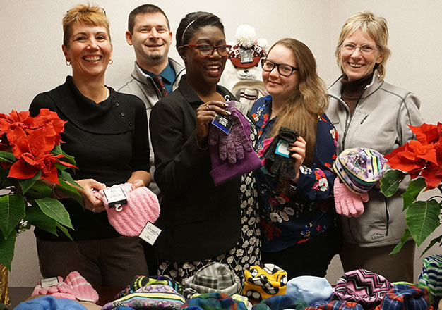 Randolph branch staff with donations