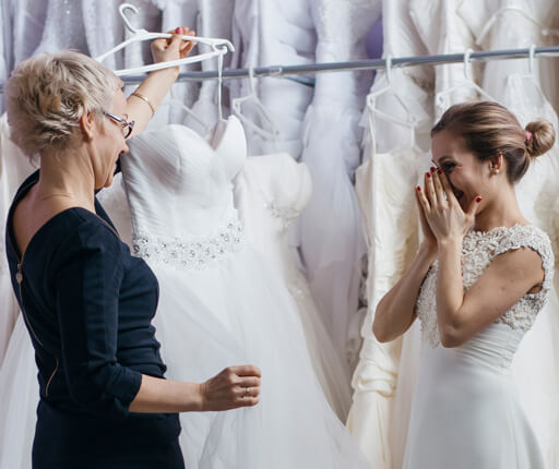 young woman wedding dress shopping